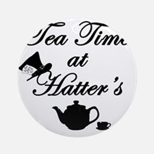 Tea Time at Hatters Round Ornament