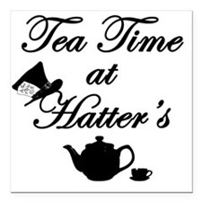 """Tea Time at Hatters Square Car Magnet 3"""" x 3"""""""
