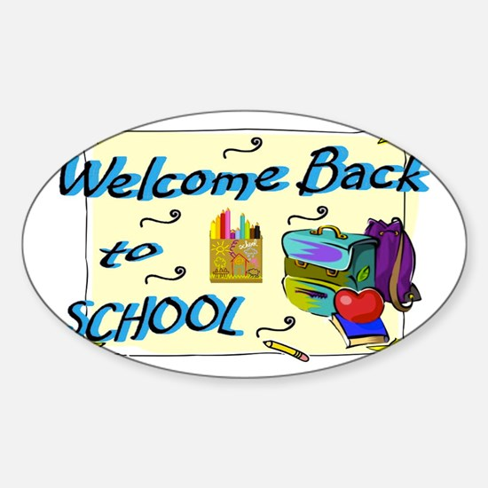 Welcome Back to School Backpack Sticker (Oval)