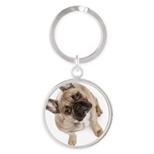 High angle view of French bulldog Round Keychain