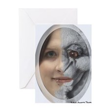 Half Gargoyle face Greeting Card