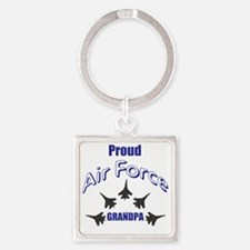 Proud Air Force Grandpa Square Keychain