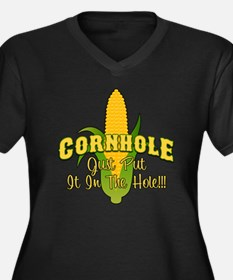 Cornhole Women's Plus Size Dark V-Neck T-Shirt