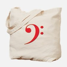 Red Bass Clef Tote Bag