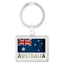 Grungy Australia Flag Landscape Keychain