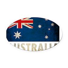 Grungy Australia Flag Oval Car Magnet