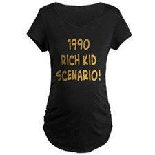 rich kid scenario text blac T-Shirt