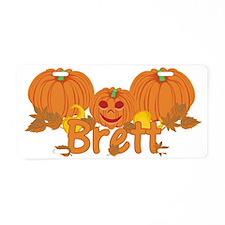 Halloween Pumpkin Brett Aluminum License Plate