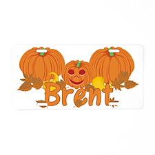 Halloween Pumpkin Brent Aluminum License Plate