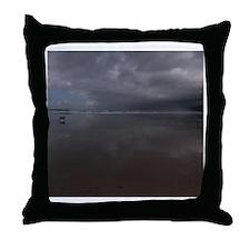 A dog running at beach Throw Pillow