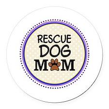 Rescue Dog Mom Round Car Magnet