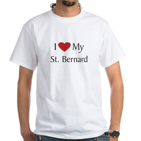 Dog Breed T-shirt, White: love my St. Bernard