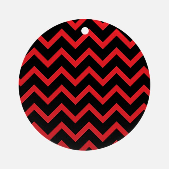 Red and Black Chevrons Round Ornament