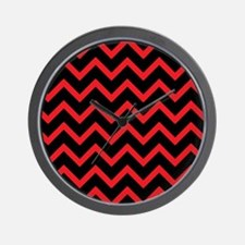 Red and Black Chevrons Wall Clock
