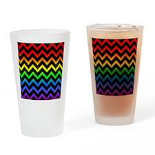Rainbow and Black Chevrons Drinking Glass