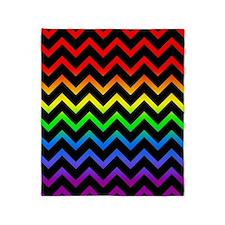 Rainbow and Black Chevrons Throw Blanket