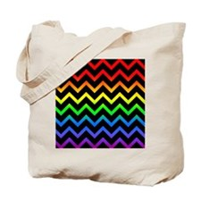 Rainbow and Black Chevrons Tote Bag