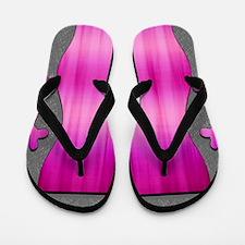 Gray and Pink Skulls Flip Flops