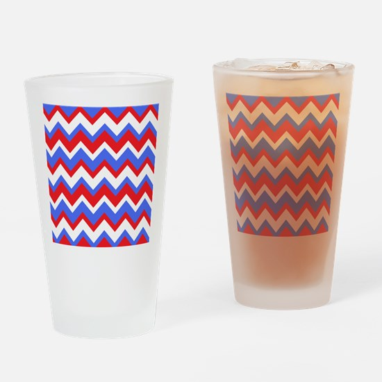 Red White and Blue Chevrons Drinking Glass