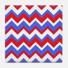 Red White and Blue Chevrons Tile Coaster