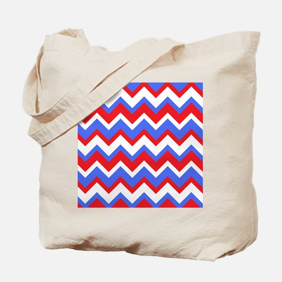 Red White and Blue Chevrons Tote Bag
