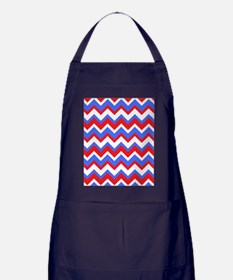 Red White and Blue Chevrons Apron (dark)