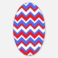 Red White and Blue Chevrons Sticker (Oval)