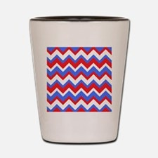 Red White and Blue Chevrons Shot Glass