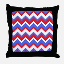 Red White and Blue Chevrons Throw Pillow