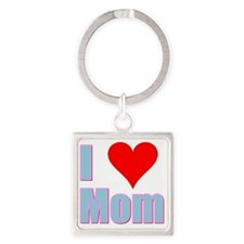 I Love Mom Square Keychain