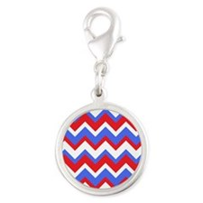 Red White and Blue Chevrons Silver Round Charm