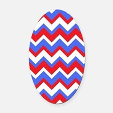 Red White and Blue Chevrons Oval Car Magnet