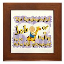 baby boys job Framed Tile