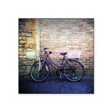 """Ladies bicycle with two bas Square Sticker 3"""" x 3"""""""