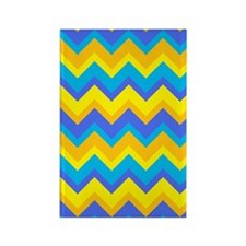Blue and Yellow Chevrons Rectangle Magnet