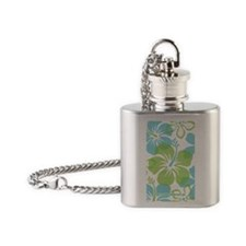 Hibiscus Surf Green Flask Necklace