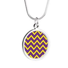 Purple and Gold Chevrons Silver Round Necklace