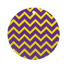 Purple and Gold Chevrons Round Ornament