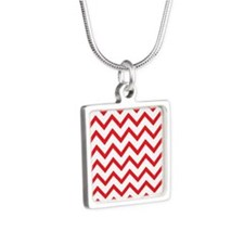 Red and White Chevrons Silver Square Necklace