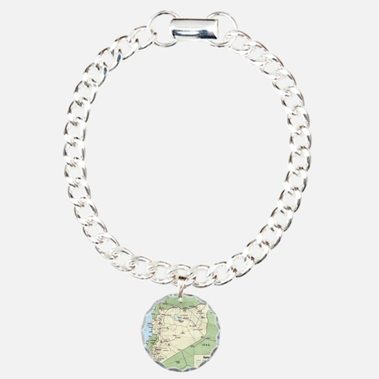 Syria Iraq Turkey Jordan Charm Bracelet, One Charm