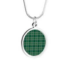 PlaidClassic_Green1_Large Silver Round Necklace