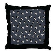 SkullsSimple_Black_Large Throw Pillow