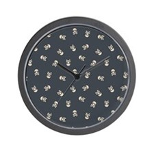 SkullsSimple_Black_Large Wall Clock