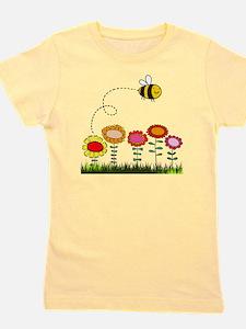 Bee Buzzing a Flower Garden Girl's Tee