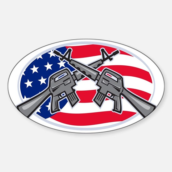 Armalite M-16 AR-15 Assault Rifle Sticker (Oval)