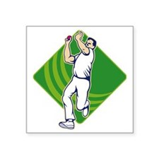 "Cricket Bowler Bowling Ball Square Sticker 3"" x 3"""