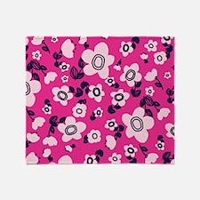 MariFlower_Pink1_Large Throw Blanket