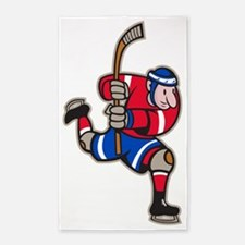 Ice Hockey Player Striking Stick 3'x5' Area Rug