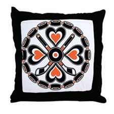 Orange and Black Hex Throw Pillow