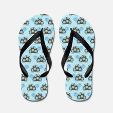 Blue Mod Turtles Flip Flops